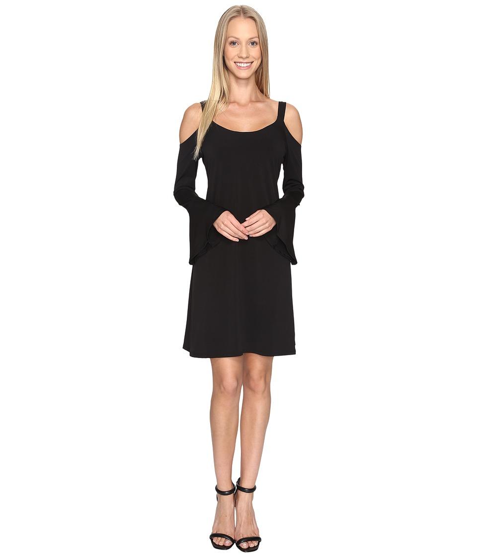 Karen Kane Cold Shoulder Flare Sleeve Dress (Black) Women