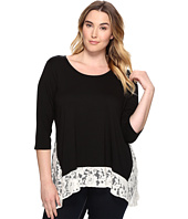 Karen Kane Plus - Plus Size Lace Contrast High-Low Top