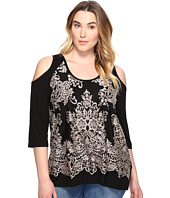 Karen Kane Plus - Plus Size Lace Overlay Cold Shoulder Top