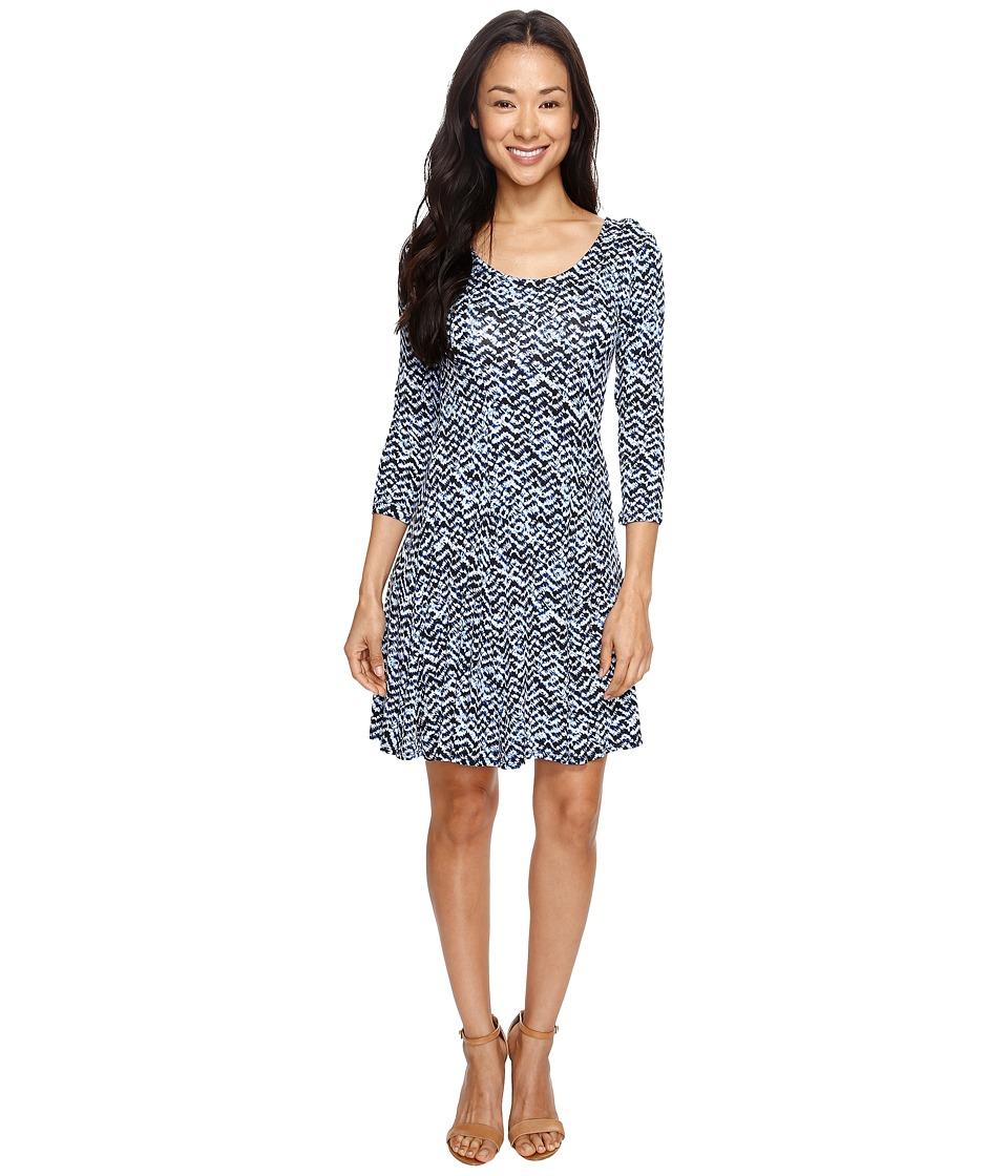 Karen Kane 3/4 Sleeve Flared Godet Dress (Print) Women