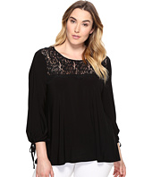 Karen Kane Plus - Plus Size Lace Yoke Tie Sleeve Top