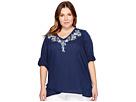 Karen Kane Plus - Plus Size Crossover Embroidered Top