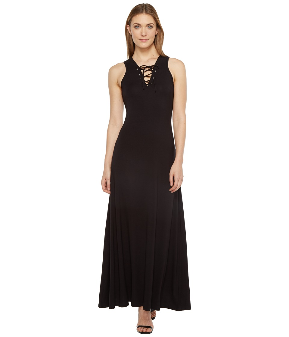 Karen Kane Lace-Up Maxi Dress (Black) Women
