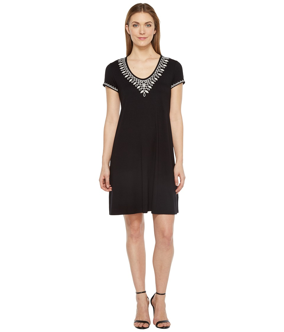 Karen Kane Embroidered T-Shirt Dress (Black) Women