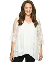 Karen Kane Plus - Plus Size Lace Overlay Asymmetric Top