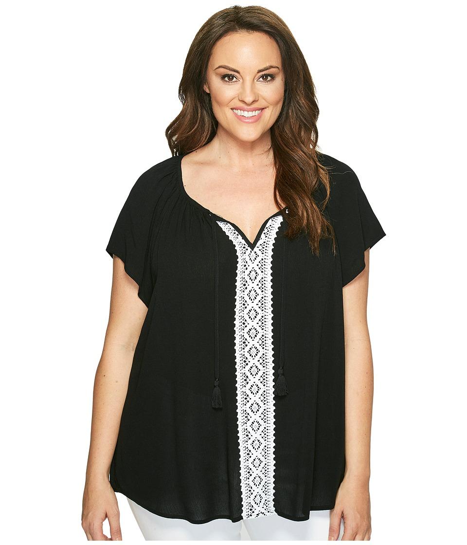 Karen Kane Plus - Plus Size Lace Trim Raglan Sleeve Top