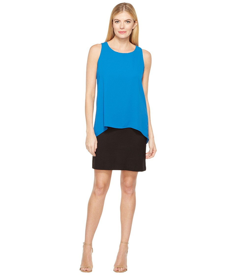 Karen Kane Hallie Double Layer Dress (Cobalt) Women