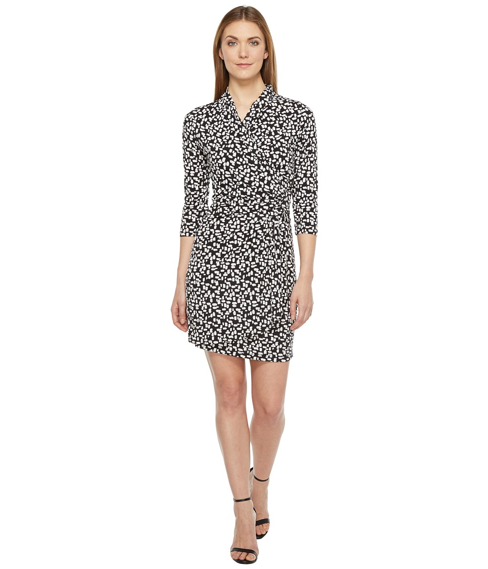 Karen Kane 3/4 Sleeve Cascade Wrap Dress (Black) Women