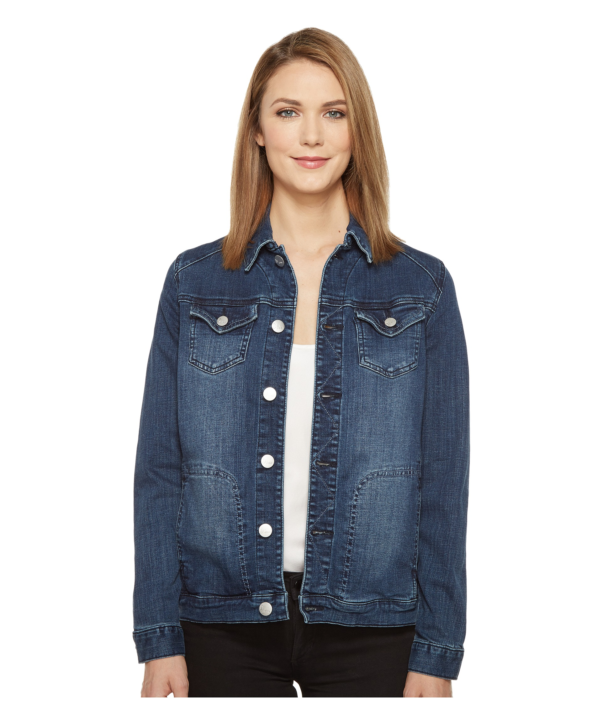 Jag Jeans Lowen Stretch Jacket in Crosshatch Denim in Thorne Blue at Zappos.com