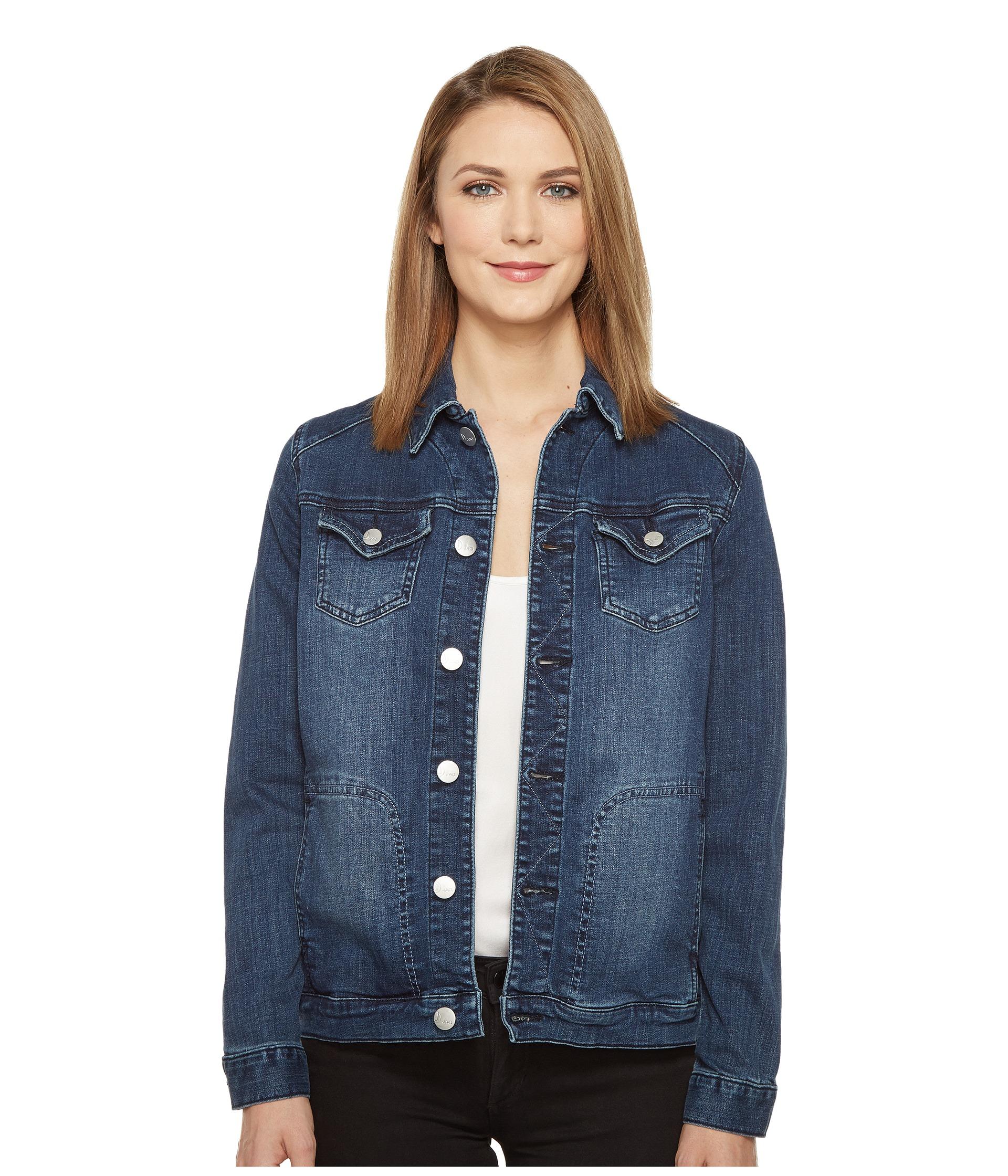 Jag Jeans Lowen Stretch Jacket in Crosshatch Denim in Thorne Blue at Zappos.com