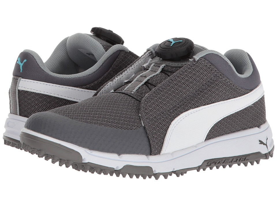 PUMA Golf Puma Grip Sport Jr. Disc (Little Kid/Big Kid) (Quiet Shade/Puma White/Bluefish) Golf Shoes
