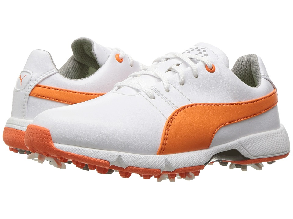 PUMA Golf Titantour Cleated (Little Kid/Big Kid) (Puma White/Vibrant Orange) Men