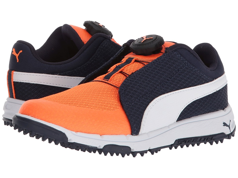 PUMA Golf Puma Grip Sport Jr. Disc (Little Kid/Big Kid) (Peacoat/Puma White/Orange Clown Fish) Golf Shoes