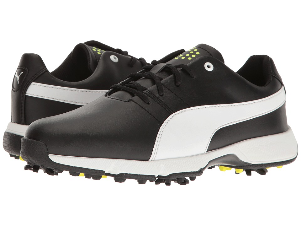 PUMA Golf Titantour Cleated (Little Kid/Big Kid) (Puma Black/Puma White/Safety Yellow) Men