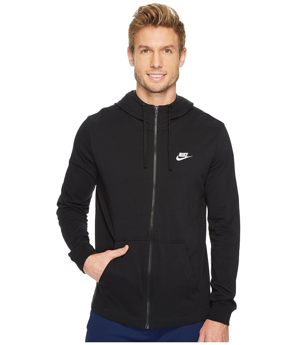 Nike Sportswear Full-Zip Hoodie (Black/White) Men