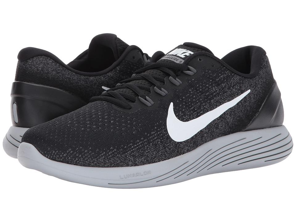 Nike LunarGlide 9 (Black/White/Dark Grey/Wolf Grey) Men