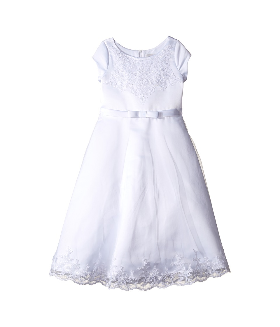 Us Angels - Satin Embroidered Netting Cap Sleeve A-Line Dress