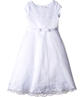 Us Angels - Satin & Embroidered Netting Cap Sleeve A-Line Dress (Little Kids/Big Kids)
