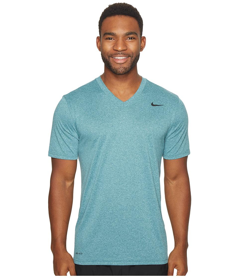 Nike Legend 2.0 Short Sleeve V-Neck Tee (Space Blue/Light Aqua/Heather/Black) Men