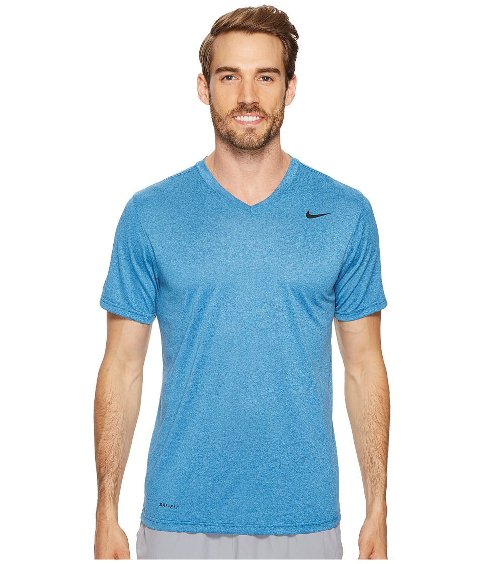 Nike Legend 2.0 Short Sleeve V-Neck Tee (Blue Jay/Cerulean/Heather/Black) Men