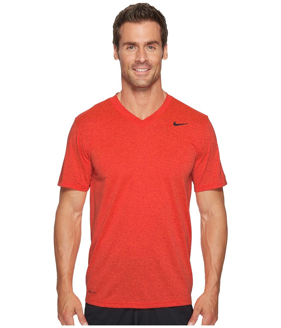 Nike Legend 2.0 Short Sleeve V-Neck Tee (University Red/Hyper Crimson/Heather/Black) Men