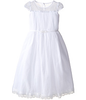 Us Angels - Satin & Embroidered Cap Sleeve Illusion w/ Full Skirt (Little Kids/Big Kids)