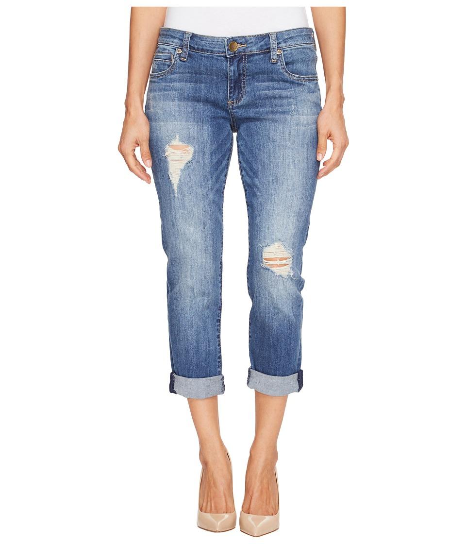 KUT from the Kloth Petite Catherine Boyfriend Five-Pocket Jeans in Fiery/Medium Base Wash (Fiery/Medium Base Wash) Women