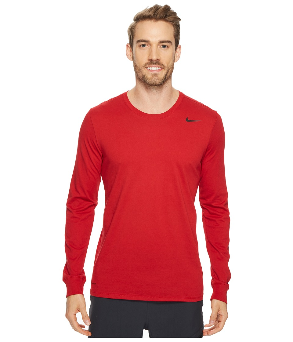 Nike Dry Training Long Sleeve T-Shirt (Gym Red/Gym Red/Black) Men