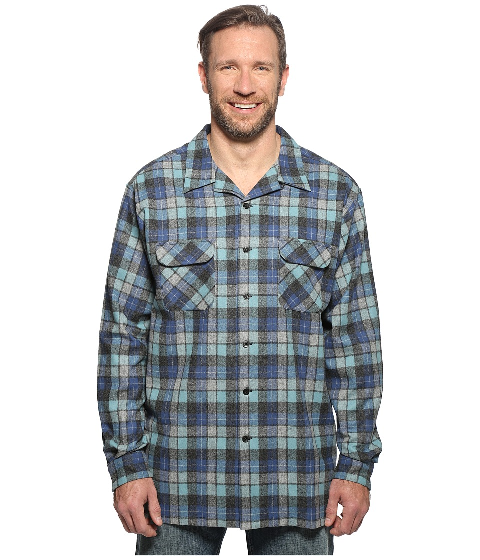 Pendleton - L/S Board Shirt (Tall) (Blue/Green Original Surf Plaid) Mens Long Sleeve Button Up