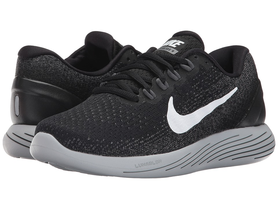 Nike LunarGlide 9 (Black/White/Dark Grey/Wolf Grey) Women's Running Shoes