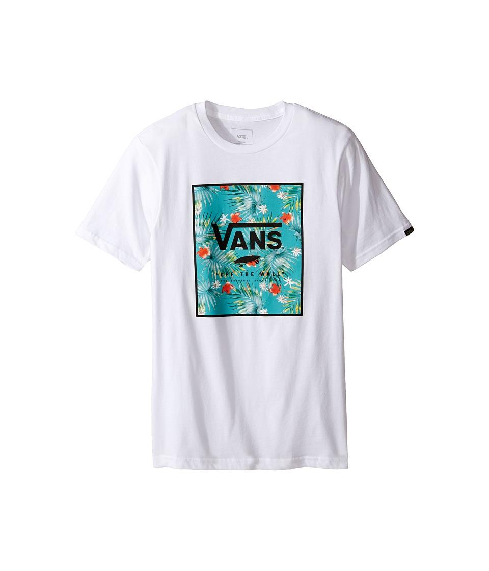 Vans Kids Print Box Tee (Big Kids) (White/Baltic Decay Palm) Boy