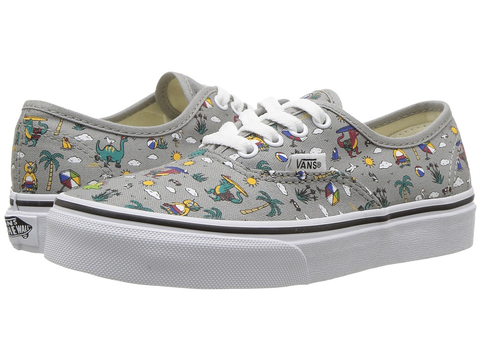 Vans Kids Authentic (Little Kid/Big Kid) ((Dino Party Train) Drizzle/True White) Boys Shoes