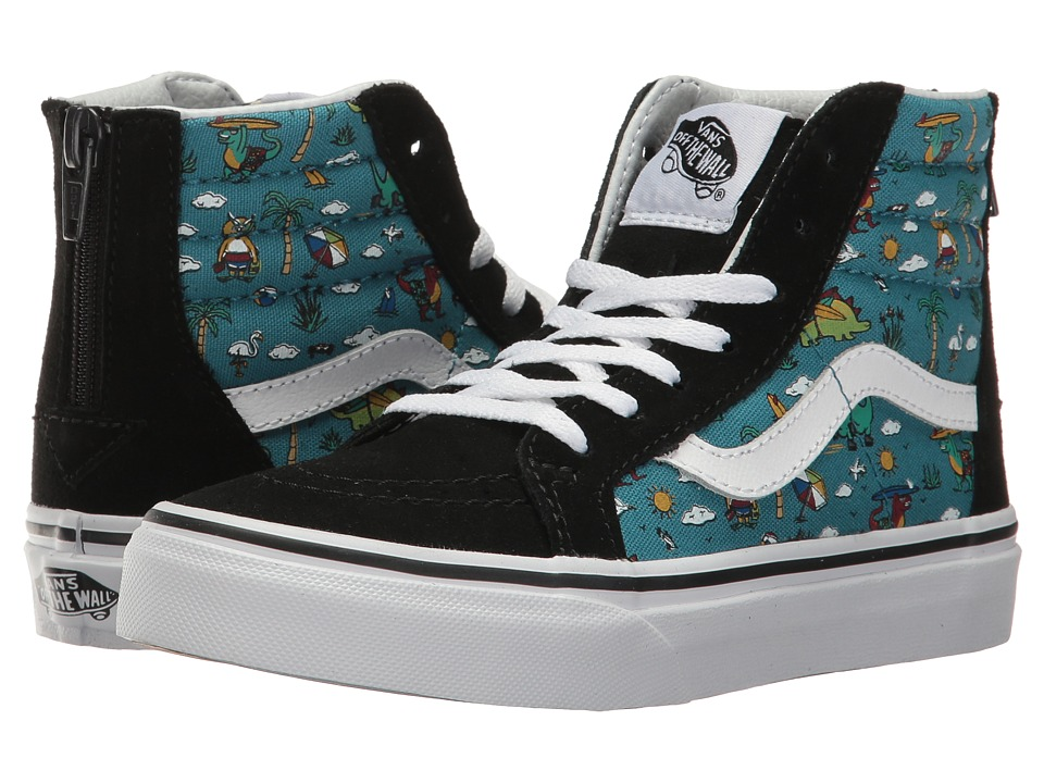 Vans Kids Sk8-Hi Zip (Little Kid/Big Kid) ((Dino Party Train) Black/Larkspur) Boys Shoes