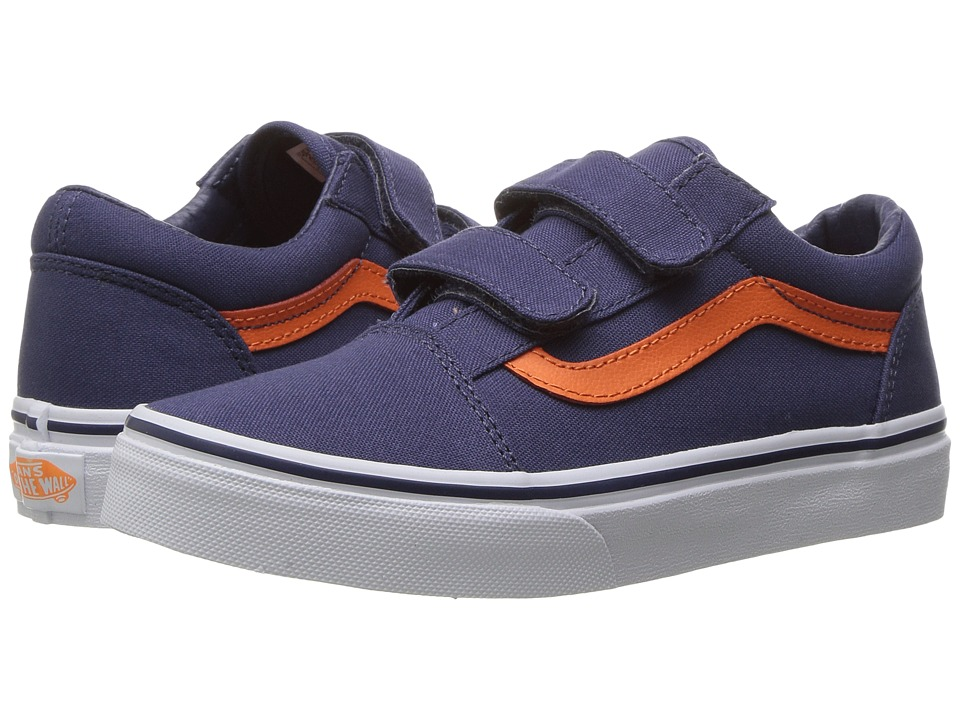 Vans Kids Old Skool V (Little Kid/Big Kid) ((Canvas) Crown Blue/Mandarin Orange) Boys Shoes