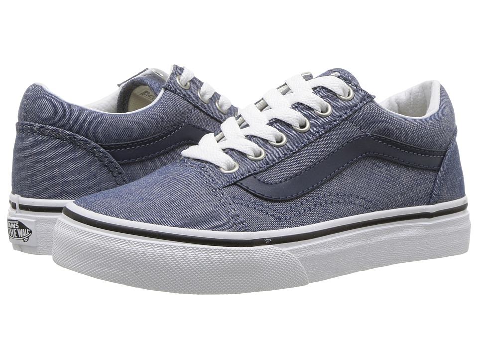 Vans Kids Old Skool (Little Kid/Big Kid) ((C&L) Chambray/Blue) Boys Shoes