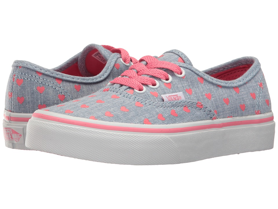 Vans Kids Authentic (Little Kid/Big Kid) (Chambray Hearts Blue/True White) Girls Shoes