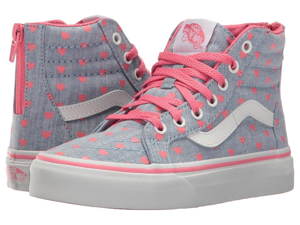 Vans Kids Sk8-Hi Zip (Little Kid/Big Kid) (Chambray Hearts Blue/True White) Girls Shoes