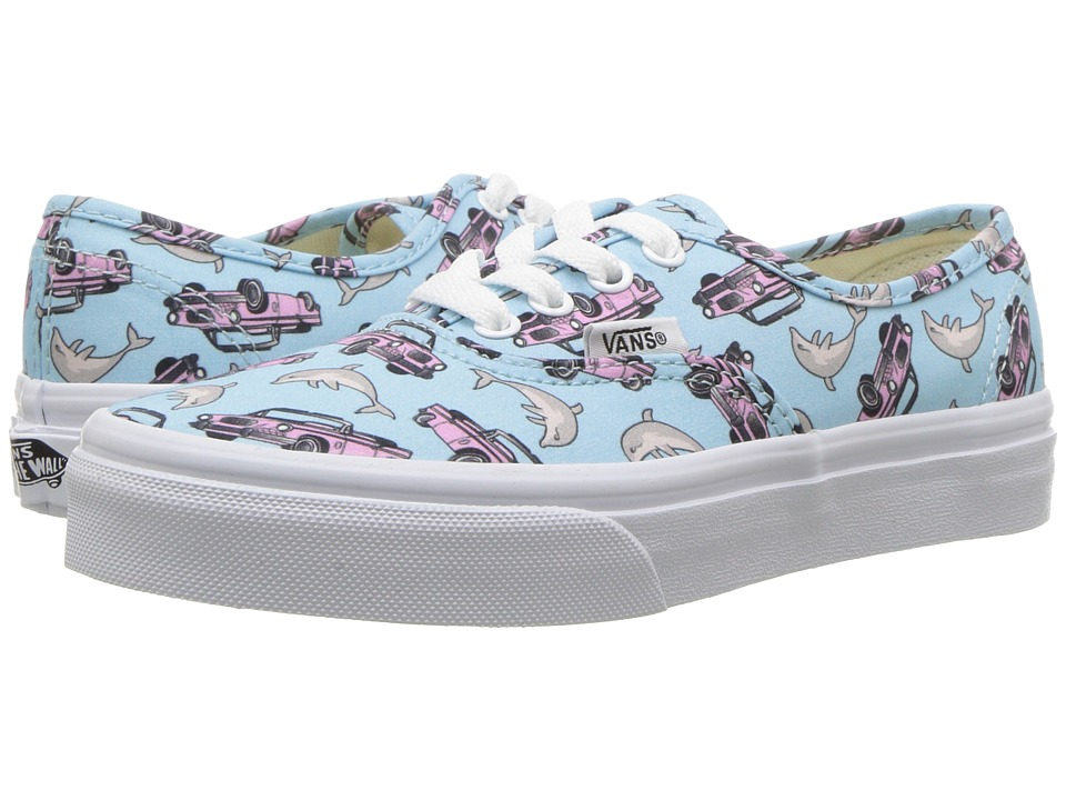 Vans Kids Authentic (Little Kid/Big Kid) ((Spring Multi) Crystal Blue/True White) Girls Shoes
