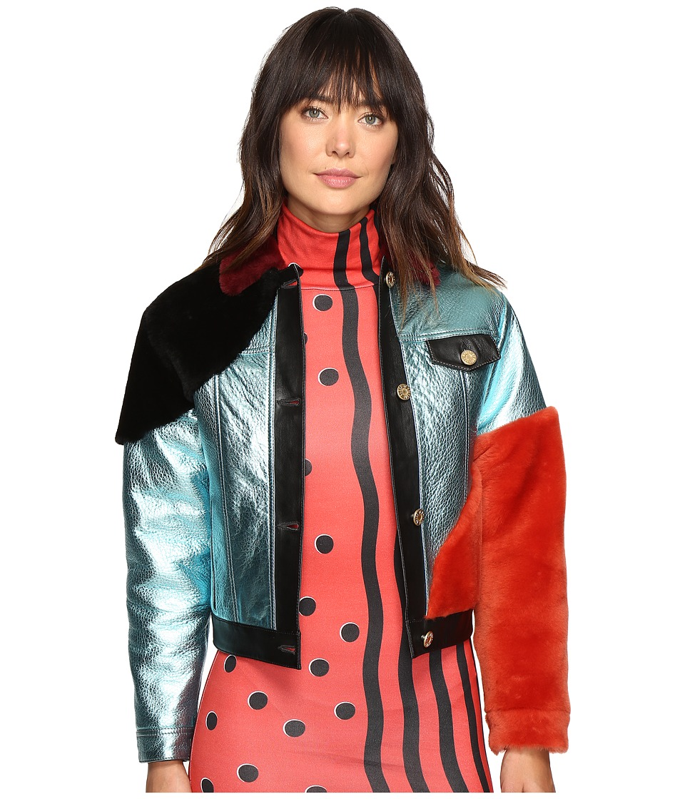 HOUSE OF HOLLAND Metallic Leather and Shearling Bomber Jacket (Light Blue) Women