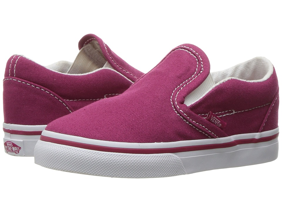 Vans Kids Classic Slip-On (Toddler) ((Canvas) Sangria/True White) Girls Shoes