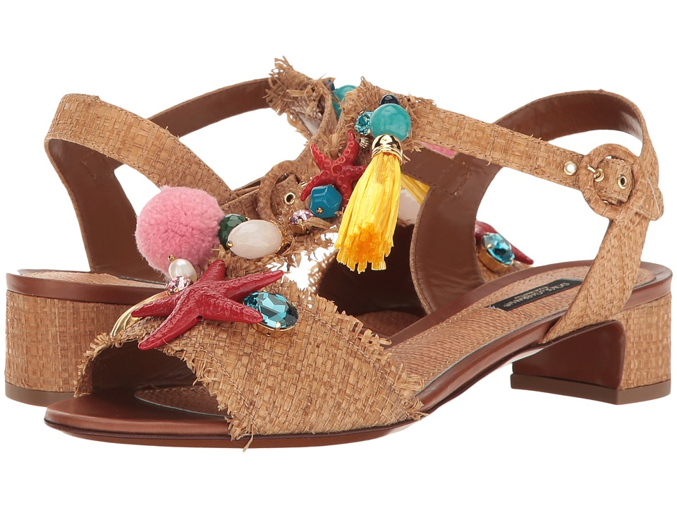 Dolce-andamp;-Gabbana-Raffia-T-Strap-Sandal-with-Shells-30mm--(Natural)-Womens-Sandals