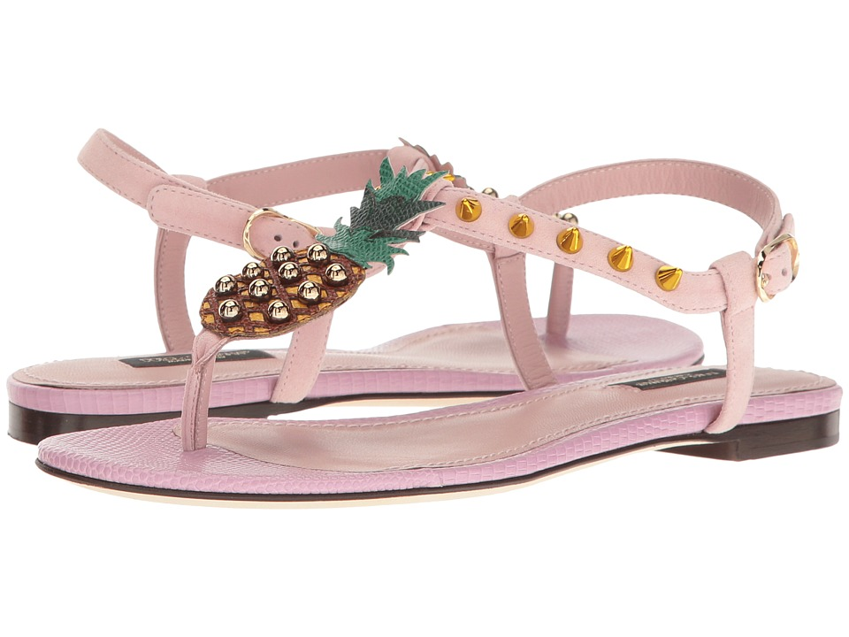 Dolce & Gabbana Suede Thong Sandal with Pineapple Detail (Light Pink) Women