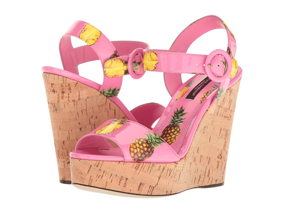 Dolce & Gabbana Patent Pineapple Print Cork Wedge 90mm (Pink) Women