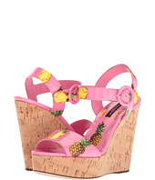 Dolce & Gabbana - Patent Pineapple Print Cork Wedge 90mm
