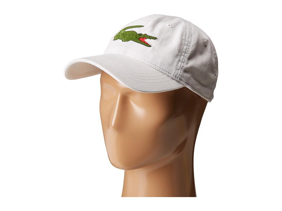 Lacoste Big Croc Gabardine Cap (White) Baseball Caps