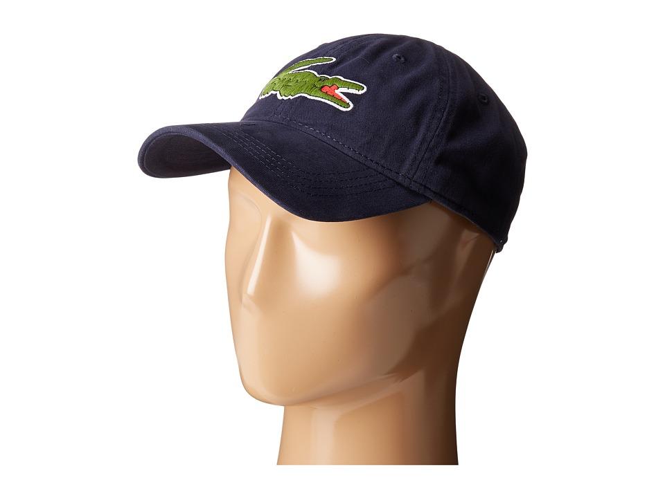 Lacoste Big Croc Gabardine Cap (Navy Blue) Baseball Caps
