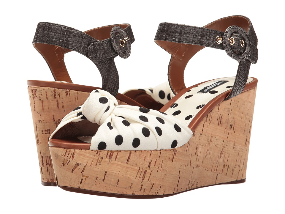 Shop Pin Up Shoes Dolce amp Gabbana - Polka Dot Cady Knot Cork Wedge with Raffia Strap 50mm WhiteBlack Womens Wedge Shoes $775.00 AT vintagedancer.com