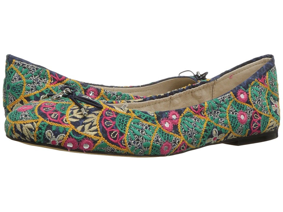 Retro Vintage Flats and Low Heel Shoes Sam Edelman - Felicia 3 Indigo Multi Ibiza Embroidery Fabric Womens 1-2 inch heel Shoes $89.99 AT vintagedancer.com