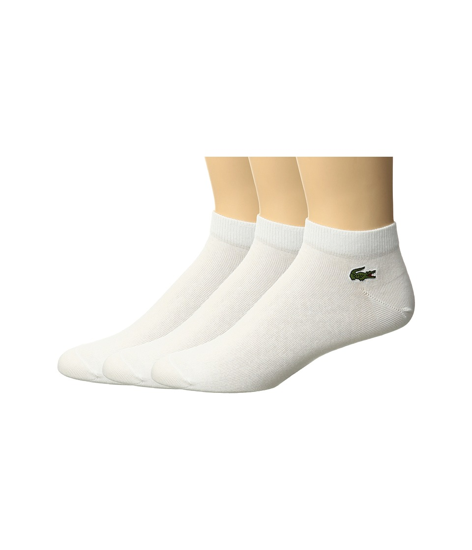 Lacoste - 3-Pack Jersey Ped Socks (White/White/White) Mens Low Cut Socks Shoes