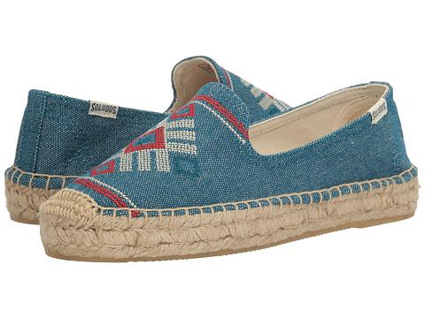 Soludos Yucatan Embroidered Platform Smoking Slipper - Ocean Blue